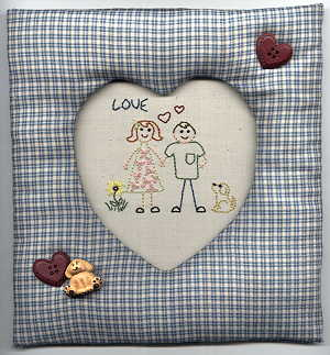 Sweetheart Embroidery and Frame