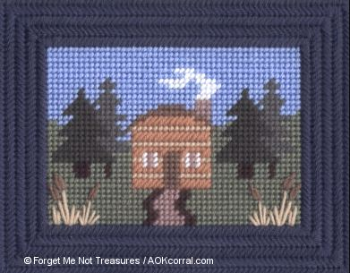 Log Cabin in the Woods for Plastic Canvas