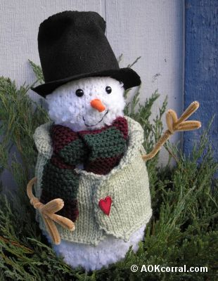 Free Snowman Christmas Ornament Or Lapel Pin Knitting Pattern
