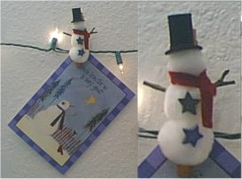 Snowman Christmas Card Display Clips