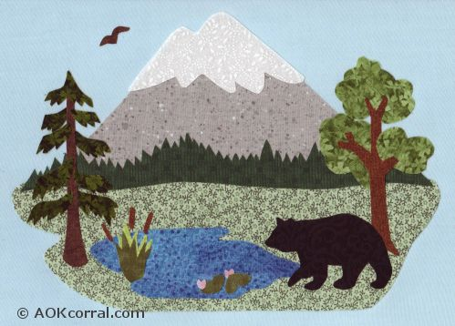 Woodland applique patterns applique mountain scene woodland